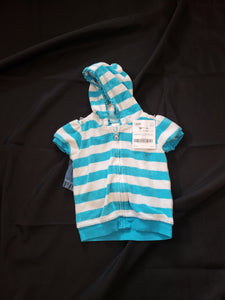 Girls size 18mo 2 piece outfit. Blue and white striped zip up top with a hood and blue jean shorts