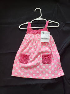 Size 18mo pink sleeveless dress with white polka dots