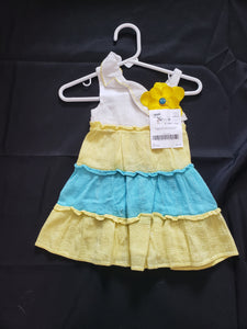Youngland baby size 18mo white yellow and blue striped dress with yellow flower