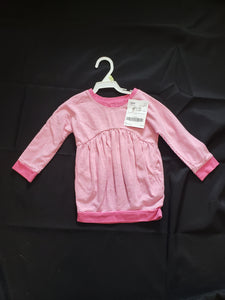 Old Navy size 18-24mo pink and white striped long sleeve dress