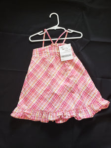Girls size 24mo pink, white and orange plaid summer dress