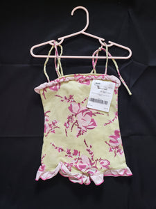 Baby Lulu size 24mo one piece outfit yellow with pink flowers