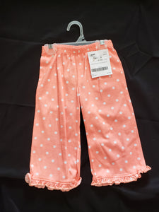 Girls size 24mo peach pajama pants with white polka dots