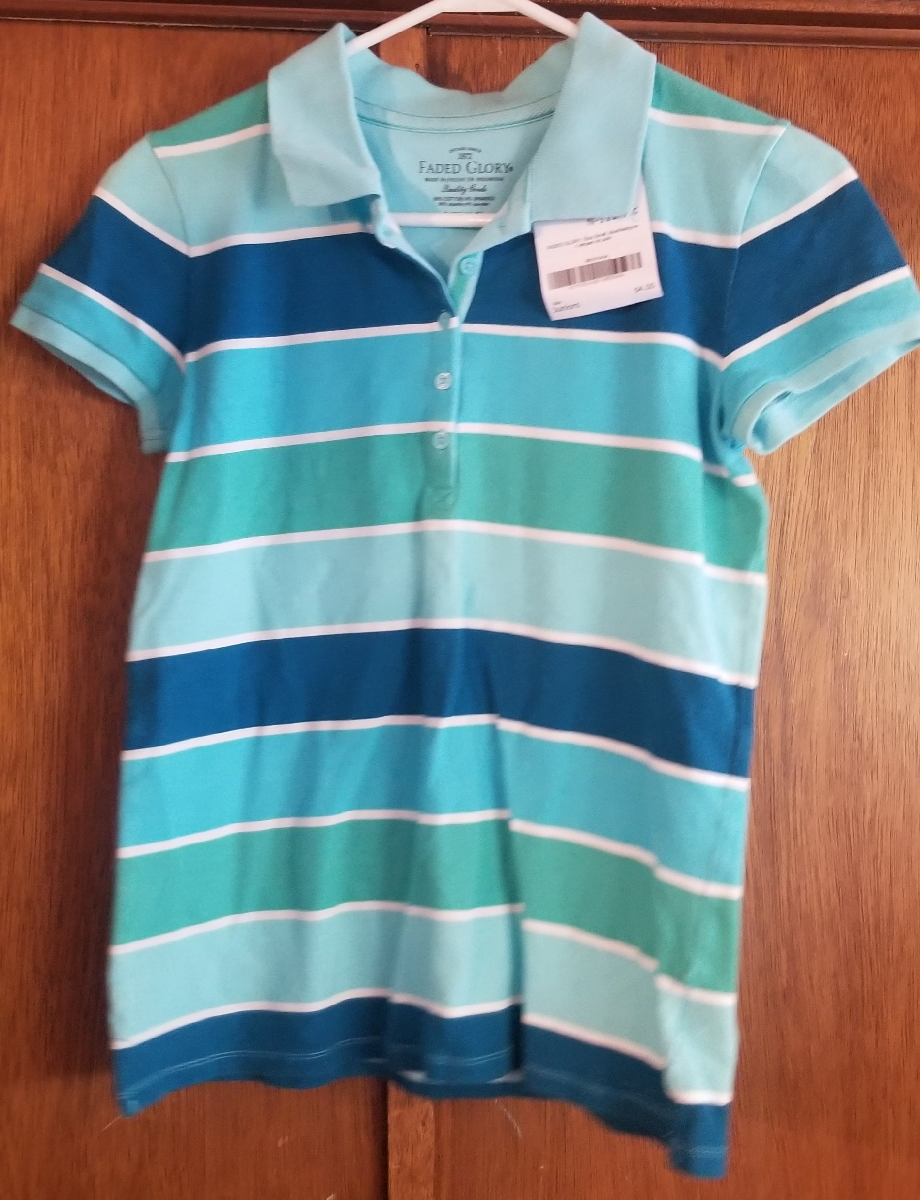 FADED GLORY SZ SMALL juniors blue/teal/green striped short sleeve polo