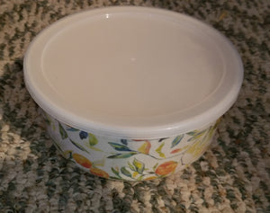 WORLD MARKET plastic bowl w/peaches, flowers & lid
