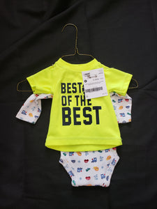 "Size newborn. Yellow shirt with ""best of the best and white onesie with cars and animals"