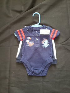 Garanimals size newborn 2 piece outfit. Blue onesie and blue pants with white stripes on side