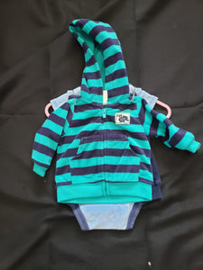 3 piece outfit. Blue pants, blue onesie with a lion and green and blue striped fleece zip up hoodie