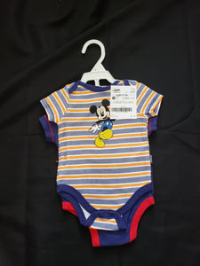 "2 size 0-3mo Mickey Mouse onesies. 1 orange, blue and white striped. 1 blue with ""cool dude"""