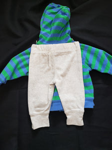 Carter's size 3mo 2 piece outfit. Blue and green striped zip up hoodie with a car and grey pants