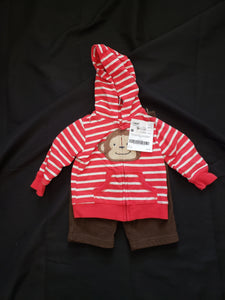 Carter's size 6mo 2 piece outfit. Red and white striped jacket with a monkey and brown fleece pants