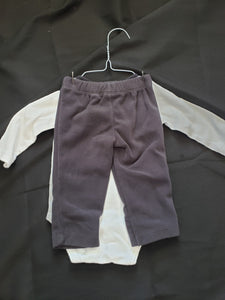 "Carter's size 6mo 2 piece outfit. White long sleeve onesie with ""beyond cute"" and grey fleece pants"