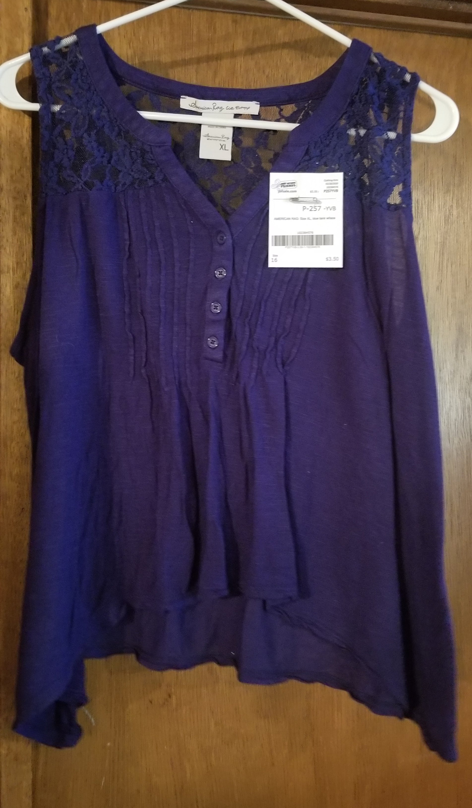 AMERICAN RAG SZ XL blue tank w/lace, girls 16