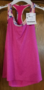 OLD NAVY pink tank w/multi color sports bra, girls 10-12