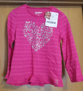 ARIZONA NEW WITH TAGS pink long sleeved top with silver arrow heart, 5t