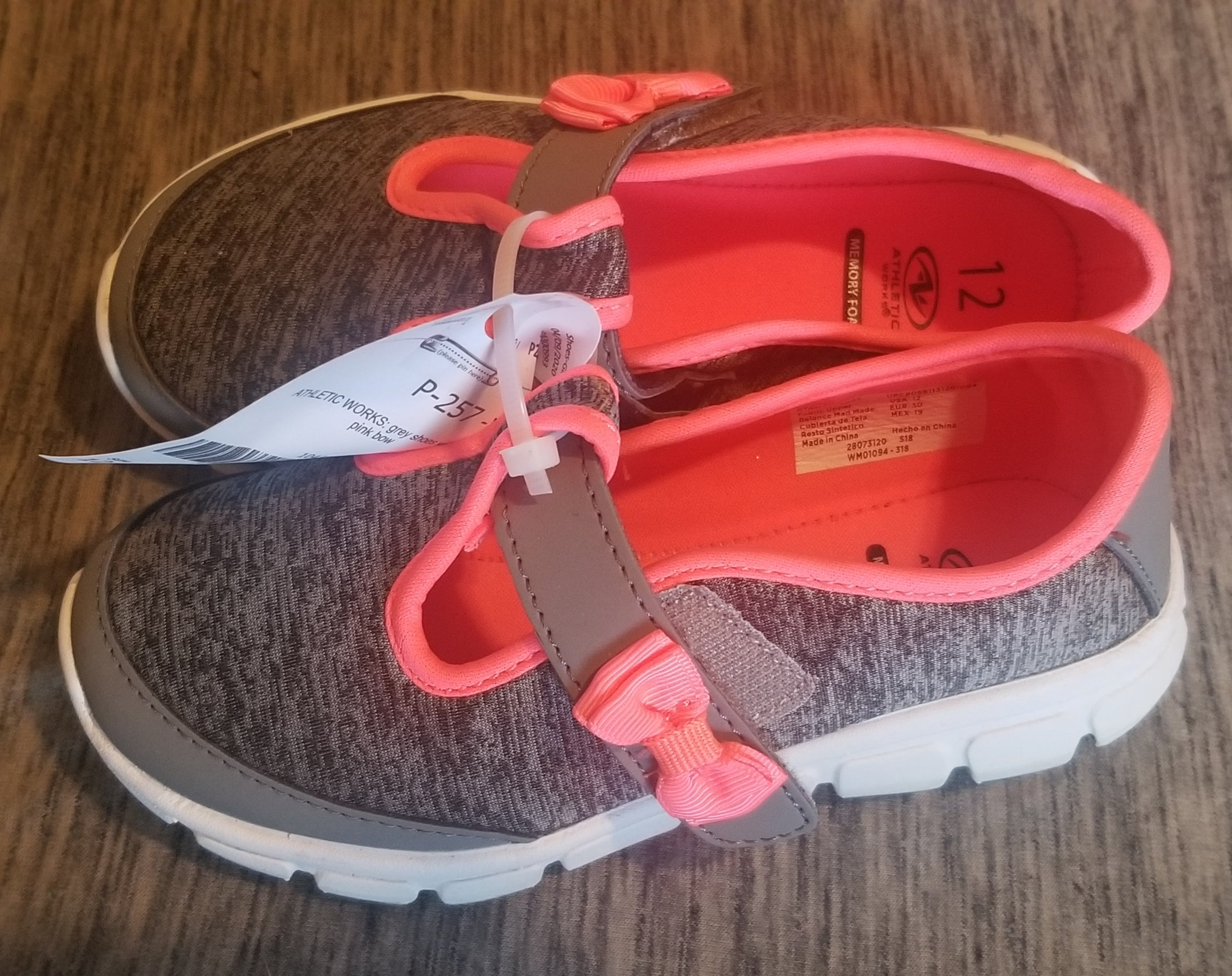 ATHLETIC WORKS grey shoes w/neon pink bow, trim, toddler girls 12