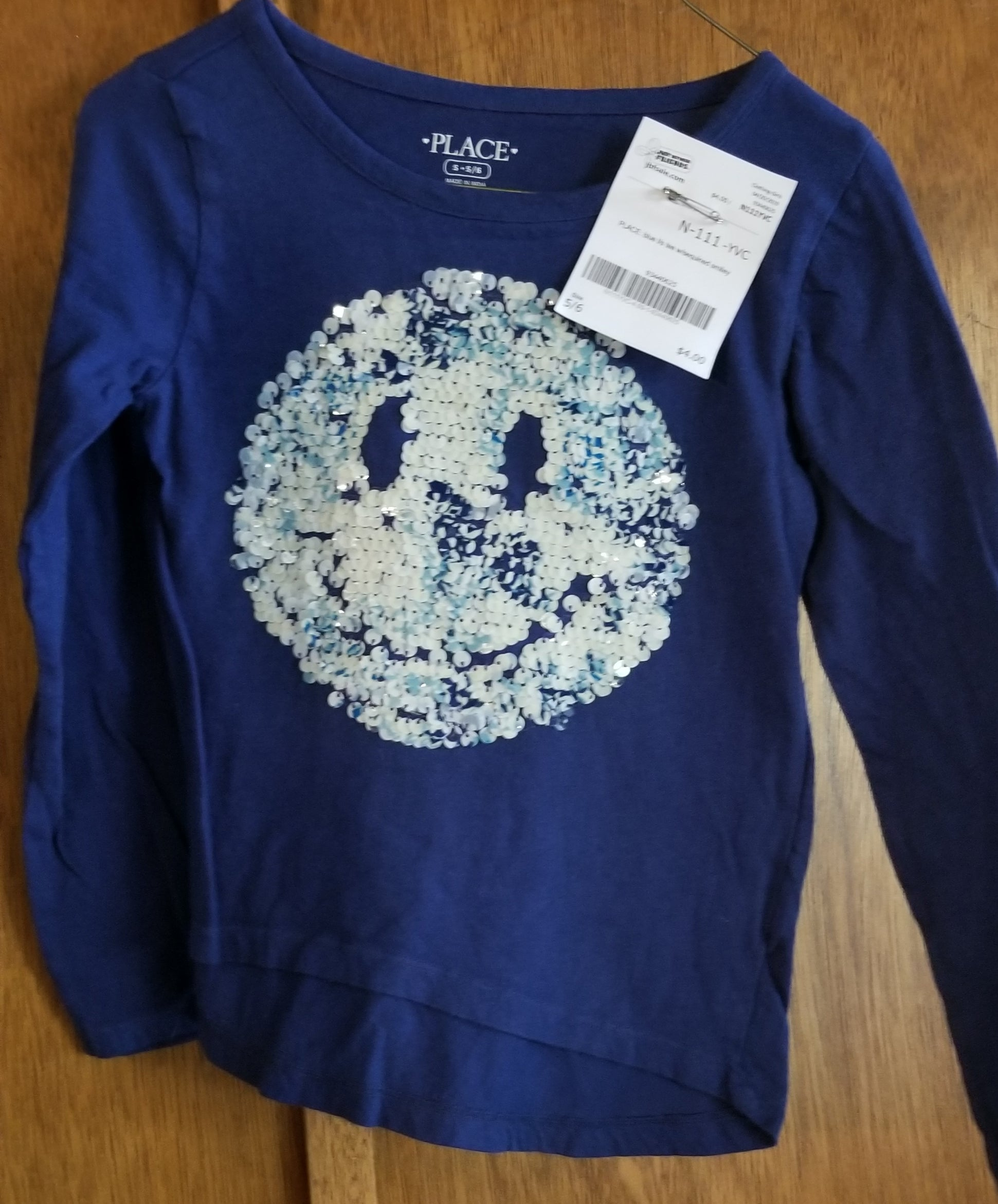 PLACE blue long sleeve tee w/sequined smiley, girls 5/6