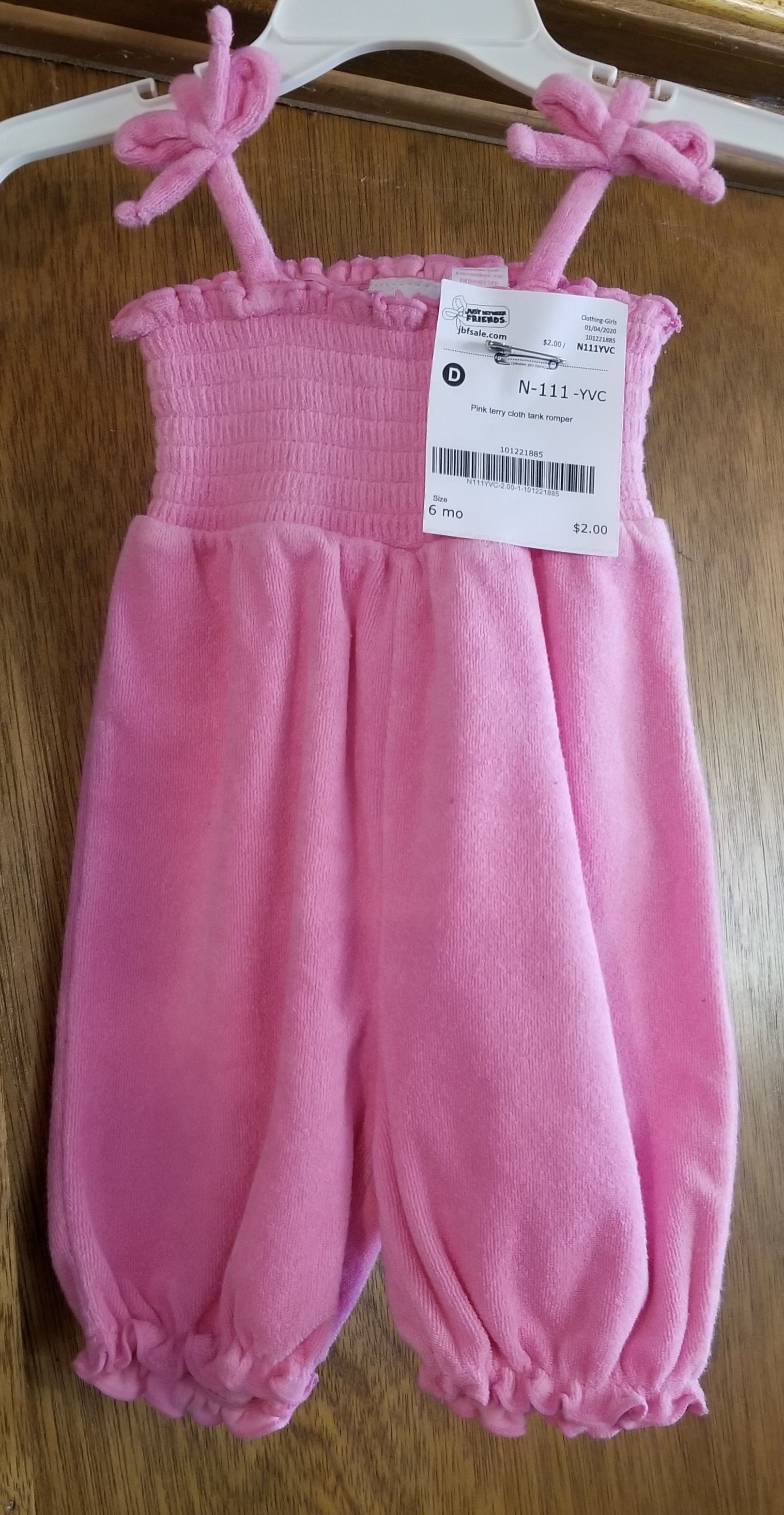 Pink terry cloth tank romper, girls 6m