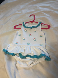 KOALA BABY White Romper w/ cupcakes and blue ruffles, size 9m