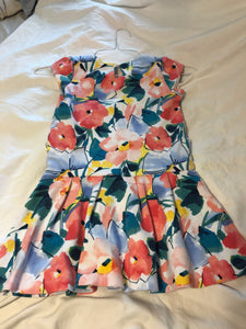GYMBOREE Cap sleeve dress w/ watercolor flowers (missing belt), Size 7