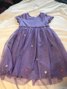 HANNA ANDERSSON  SS Purple Dress with Guazy skirt w/ flowers & horses on bottom, Size 130, US 8