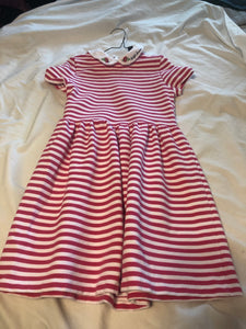 POLO RALPH LAUREN Collared SS Pink & White stripe dress, Size M (8-10)