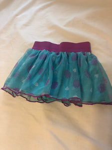 DISNEY Princess Skort- Purple elastic waist, Blue underlay with purple shells and white hearts on overlay. Size 2T