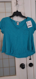 AMERICAN RAG teal crop top: XS