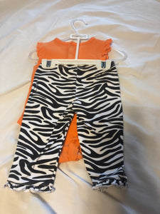 2 pc. CARTER'S Sleeveless Orange Onesie w/ Zebra- Daddy Makes Me Smile, CARTER'S Zebra Pants, size 9m