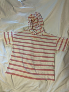 GAP KIDS Hooded SS Top- pink & white stripes, Size 8 (M)