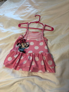 DISNEY Minnie Mouse Bathing Suit-Pink w/ White Polka Dots, Size 24m