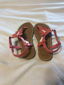 GYMBOREE Pink Butterfly Flip flop with ankle strap sandals, size 12