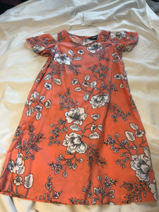 LANDS' END Off the Shoulder A line Dress- coral w/ white flowers, size 8