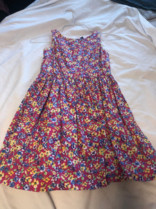 POLO RALPH LAUREN Pink Tank dress w/ purple, blue, yellow & white flowers, Size 8