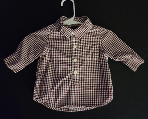 BABY GAP brown & white checkered, long sleeve, 1/2 button shirt; Infant boys 0-3m