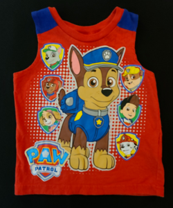 NICKELODEON red tank top w/ Chase & the PAW PATROL characters; Boys 24m