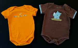"GYMBOREE 3 pc bundle - orange ""baby Brother"" Bodysuit & brown Rhino bodysuit & *NWT* shorts; Infant boys 0-3m"