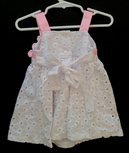 BONNIE BABY white sun dress w/ pink satin straps and flowers, White lacy overlay & tie back; Infant Girls 6-9m