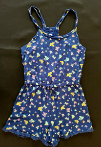 OLD NAVY navy blue, summer shorts romper w/ butterflies; girls 8