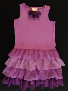 HANNA ANDERSSON purple knit tank dress w/ tulle flowers and ruffle skirt; Girls 6/7
