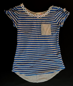SPEECHLESS (M) blue/grey striped ss shirt w/ pocket & daisies around neck; Girls 8