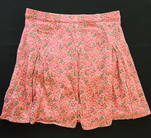 LANDS END peach knit floral skirt; Girls 8