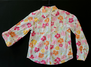 GYMBOREE white long sleeve button-up shirt w/ orange & pink flowers, roll-up sleeves; Girls 8