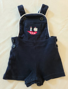 GYMBOREE knit overall shorts, boys size 0-3 months