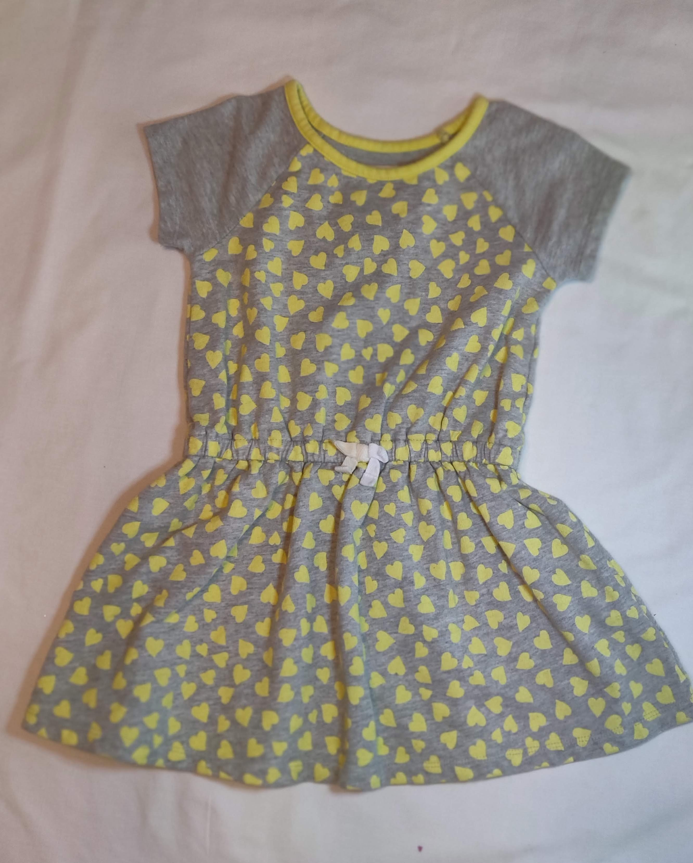 CHILDRENS PLACE size 4 grey dress with yellow hearts