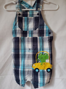 JUST ONE YOU 12M Blue & white plaid overalls w/frog