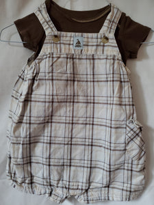 2PC 9m plaid overalls w/sailboat & brown carters onesie