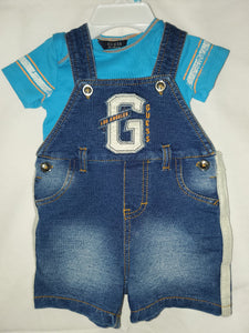 NWOT 0-3m 2PC GUESS OUTFIT OVERALLS AND BLUE SHIRT