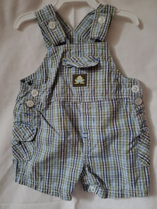 SONOMA 0-3 Green& blue plaid overalls w/frog