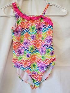 OP bright floral swimsuit size 7/8